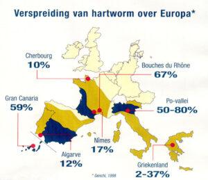 Dierenkliniek Tiel-Drumpt: Hartwormziekte: kaart met het voorkomen van de hartworm.
