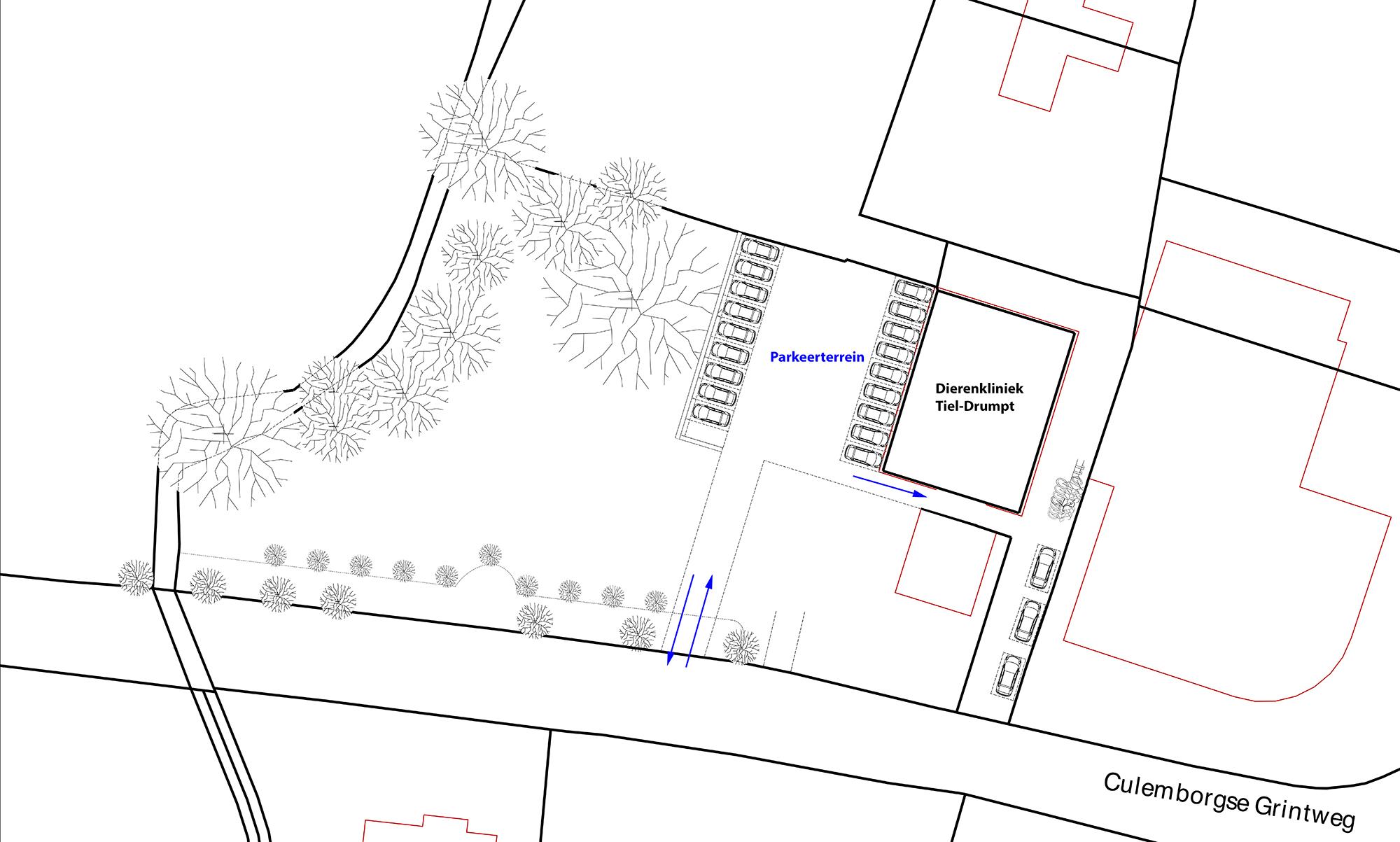 Dierenkliniek Tiel-Drumpt: Een schematische weergave van het parkeren bij de dierenarts in Tiel.