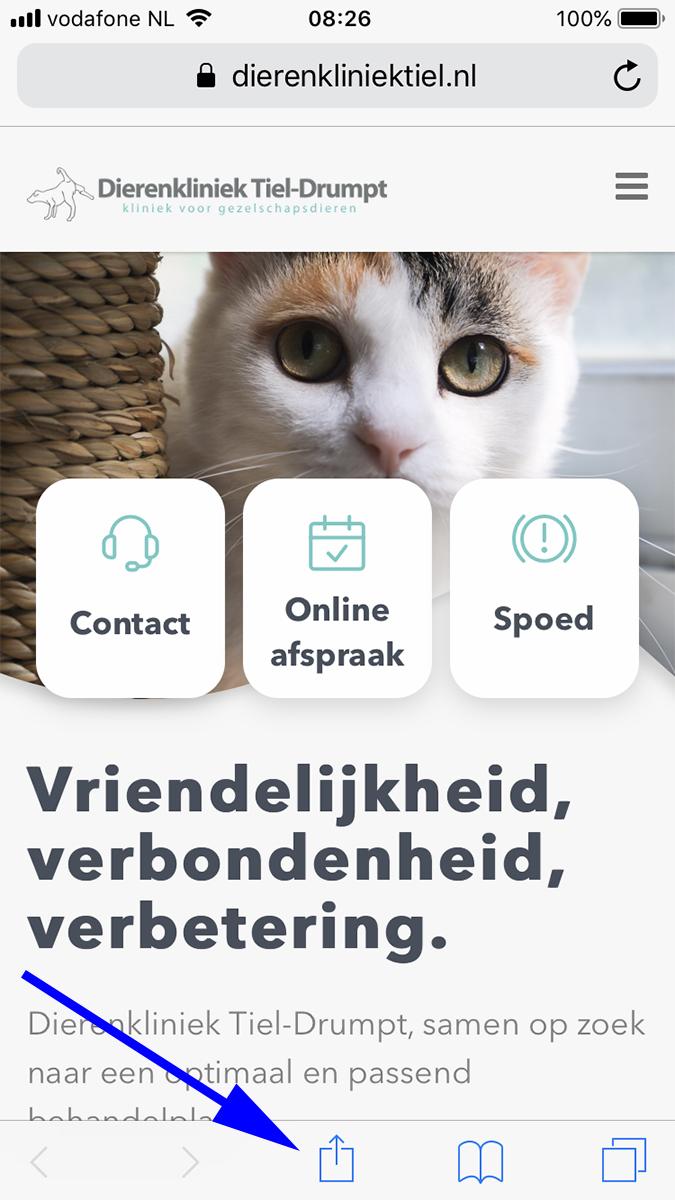 Dierenkliniek Tiel-Drumpt: Nieuwe homepage op de website op startscherm zetten.