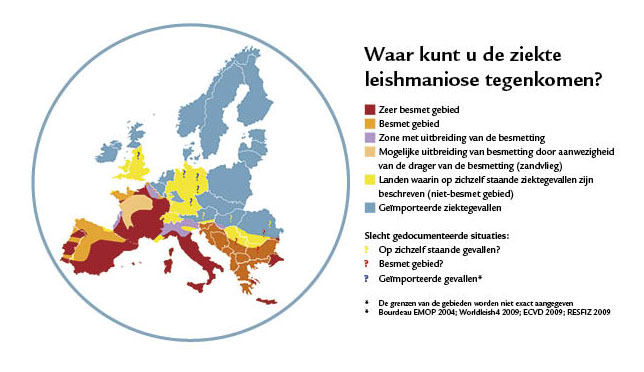Dierenkliniek Tiel-Drumpt: Er zijn veel kaarten die het mogelijke voorkomen van Leishmania in Europa aangeven (Bron: Virbac)