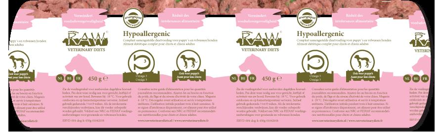 Dierenkliniek Tiel-Drumpt: RAW vers vlees, bv een hypoallergene variant.