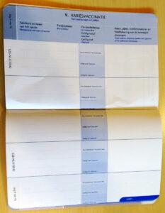 Dierenkliniek Tiel-Drumpt: Pagina voor rabiës vaccinaties in nieuw dierenpaspoort. Ook dit deel moet door de dierenarts geseald worden.
