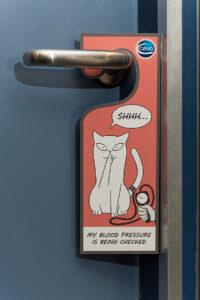 Dierenkliniek Tiel-Drumpt: Bloeddrukmeting bij de kat; we proberen het zo rustig mogelijk te houden.